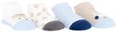 Cutie Pie Baby Light Blue Chevron & Tan Owl Four-Pair Socks Set