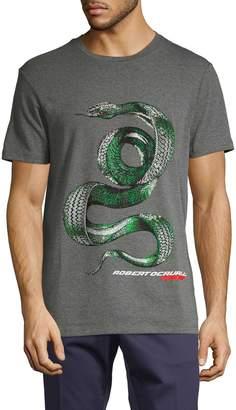 Roberto Cavalli Sport Logo Graphic Heathered Tee