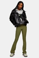 Topshop Khaki Ribbed Jersey Flare Trousers