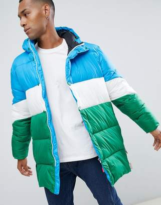 Hunter colour block puffer coat-Blue