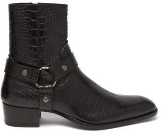 Saint Laurent Wyatt Harness Crocodile-effect Leather Boots - Mens - Black