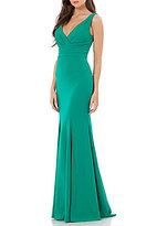 Carmen Marc Valvo V-Neck Crepe Mermaid Gown