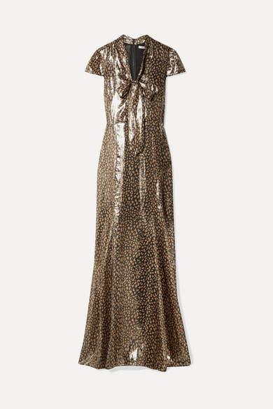 Alice + Olivia Alice Olivia - Roanne Printed Silk-blend Lamé Maxi Dress - Metallic
