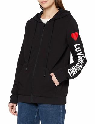 Love Moschino Women's Hooded Long Fleece Zipped Sweatshirt_Stripe Logo & Heart Print On Sleeve_Ribbed Bottom & Cuffs