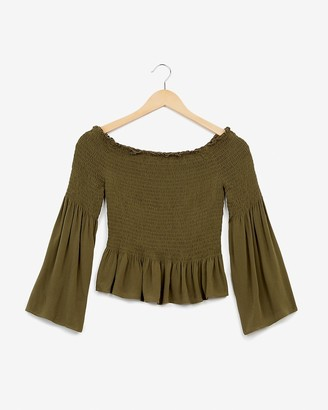 Express Smocked Off The Shoulder Bell Sleeve Top