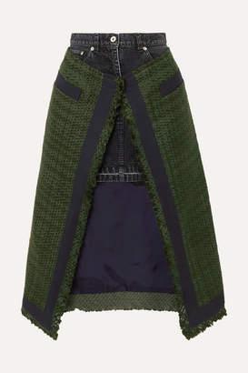 Sacai Paneled Asymmetric Canvas-trimmed Tweed And Denim Skirt - Army green