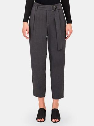 Standards & Practices Marina Paper Bag Waist Vegan Leather Stripe Pants