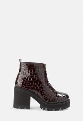 Missguided Burgundy Croc Texture Chunky Heeled Ankle Boots