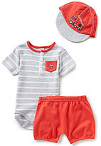 Starting Out Baby Boys Newborn-9 Months Firetruck Striped Bodysuit, Shorts, & Baseball Hat Set
