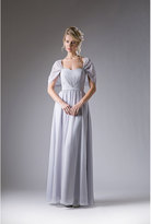 Unique Vintage Silver Special Occasion Dress With Chiffon Sleeves