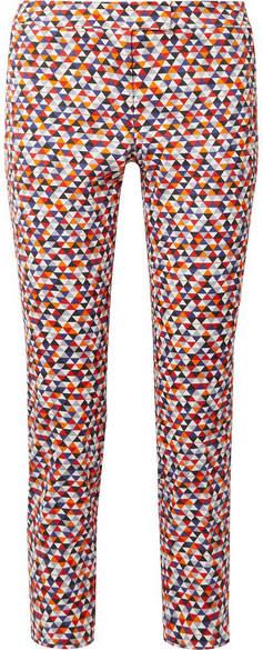 Akris Frances Cropped Printed Cotton-blend Slim-leg Pants
