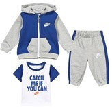 Nike Grey and Blue Futura FZ Hoodie, Tee and Pants Outfit Set