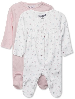 M&Co Pointelle sleepsuits two pack (0-18mths)