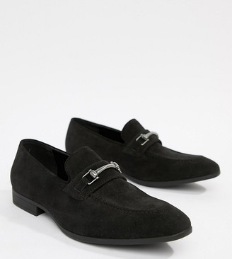 ASOS DESIGN Wide Fit loafers in black faux suede with snaffle detail