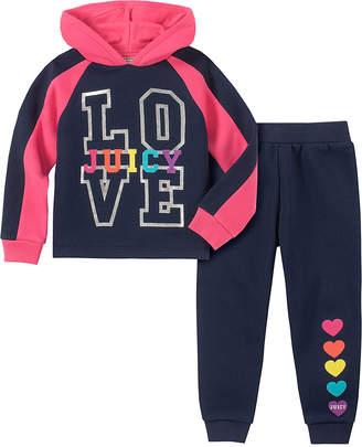 Juicy Couture Girls' Casual Pants 2010 - Navy & Hot Pink 'Love Juicy' Velour Hoodie & Black Sweatpants - Toddler