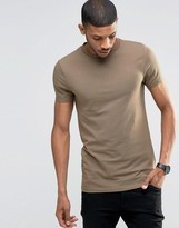 Asos Longline Muscle T-Shirt With Crew Neck In Brown