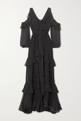 Dundas Cold-shoulder Ruffled Polka-dot Silk-chiffon Maxi Dress - Black