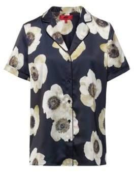 HUGO Pyjama-style short-sleeved blouse with anemone print