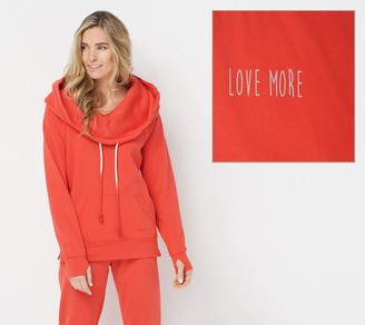 Peace Love World Solid or Tie Dye Cowl Neck Hoodie with Side Zips