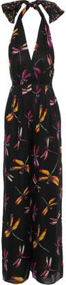 Diane von Furstenberg Justine Printed Silk-chiffon Halterneck Jumpsuit