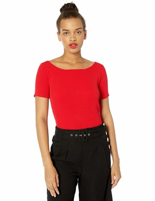J.o.a. Women's Boat Neck Knit Top with Bow Back