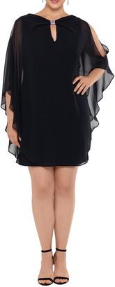 Xscape Evenings Chiffon Cape Sleeve Cocktail Dress
