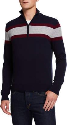 Neiman Marcus Men's Cashmere Colorblocked Striped Sweater