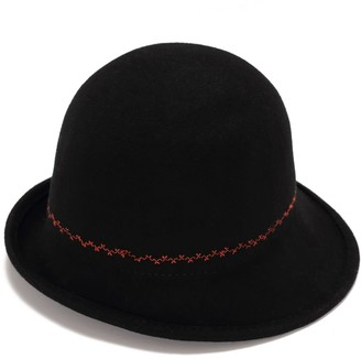 Cloche Black With Embroidery