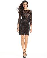 Eliza J Three-Quarter-Sleeve Ruched Lace Dress