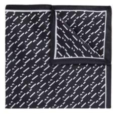 HUGO BOSS Patterned Pocket Square In Pure Silk - Dark Blue
