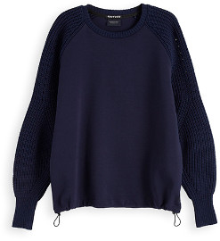 Maison Scotch Mixed Crew Neck Sweatshirt Navy - XS (8)