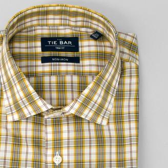 Tie Bar Dress Plaid Yellow Non-Iron Dress Shirt