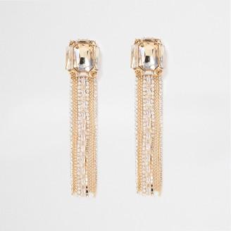 River Island Womens Gold Tone chain Tassel Dangle Earring