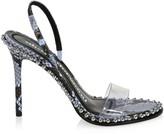 Alexander Wang Nova Studded PVC & Snake-Embossed Leather Slingback Sandals