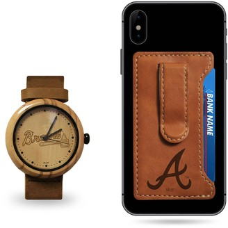 Sparo Atlanta Braves Wood Watch and Phone Wallet Gift Set