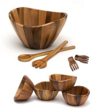 Lipper Large Bowl, Servers, Pasta Hands & 4 Bowls Wooden Salad Set