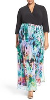 Chetta B Plus Size Women's Surplice Bodice Mixed Media Maxi Dress