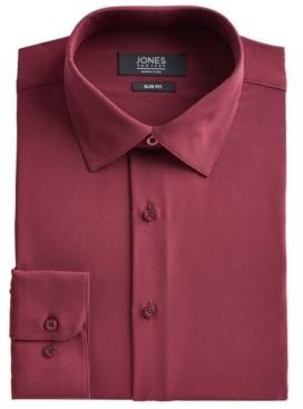 Jones New York Men's Slim-Fit Performance Stretch Cooling Tech Burgundy Solid Dress Shirt