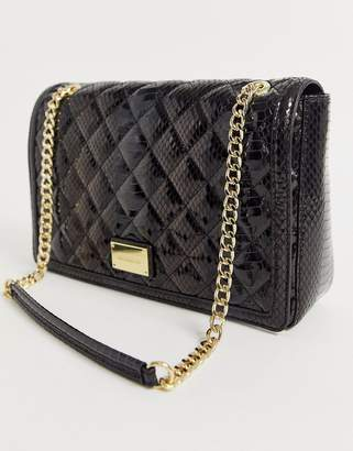 Love Moschino high shine snake quilted chain strap shoulder bag-Black