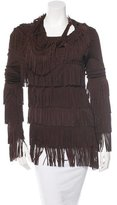 Jean Paul Gaultier Fringe-Trimmed Long Sleeve Top w/ Tags