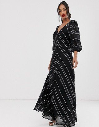 Asos Edition EDITION sequin & ribbon trapeze maxi dress