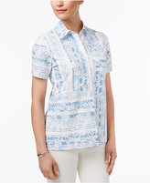 Alfred Dunner Blue Lagoon Patchwork Printed Shirt