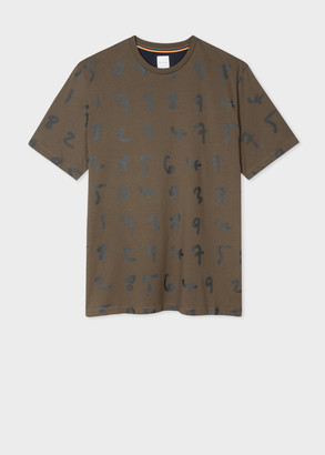 Paul Smith Men's Brown Oversized 'Numbers' Print T-Shirt