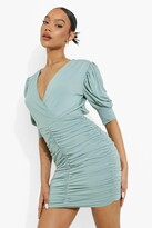 Thumbnail for your product : boohoo Wrap Ruched Detail Mini Dress