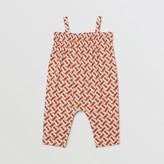 Burberry Childrens Smocked Monogram Print Cotton Poplin Jumpsuit