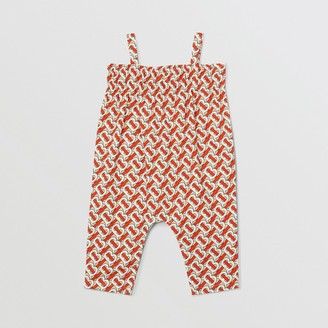 Burberry Childrens Smocked Monogram Print Cotton Poplin Jumpsuit