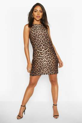 boohoo High Neck Sleeveless Leopard Print Shift Dress