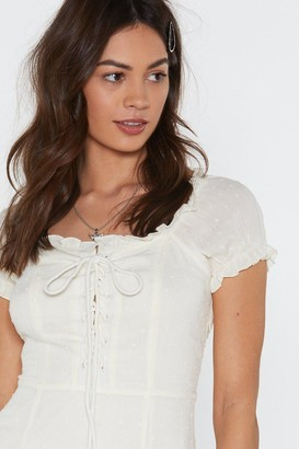 Nasty Gal Womens Puff Sleeve Lace Up Dobby Lined Mini Dress - White