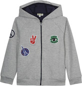 Kenzo Patch detailed hooded zip-through cotton-blend hoody 4-16 years