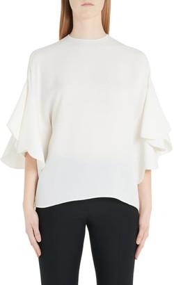 Valentino Flutter Sleeve Silk Blouse